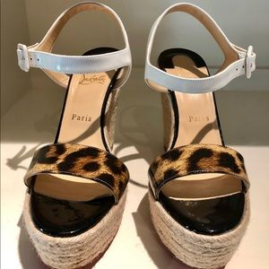 Louboutin Spachica Espadrille Wedge Sandals